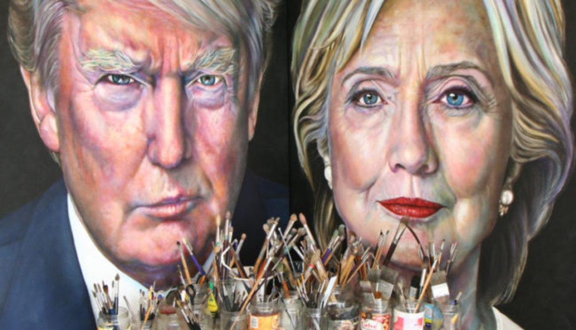 Saskia Vugts portretteert de Amerikaanse presidentskandidaten Hillary Clinton en Donald Trump