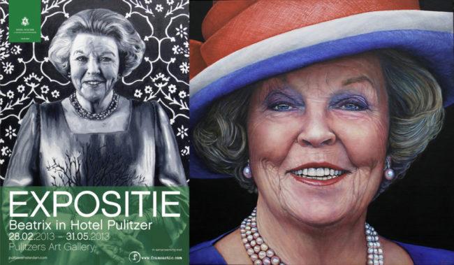 Portret van prinses Beatrix waarmee Saskia Vugts exposeert op de expositie in het Pulitzer hote