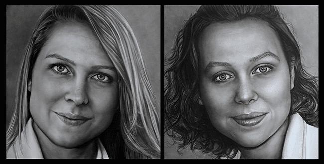 Olieverfportretten van de zusjes Danique en Mayra