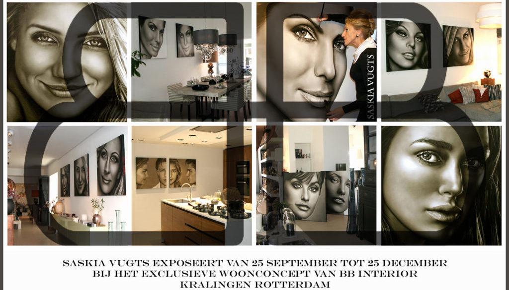 Flyer van de expositie van Saskia Vugts bij BB Interior