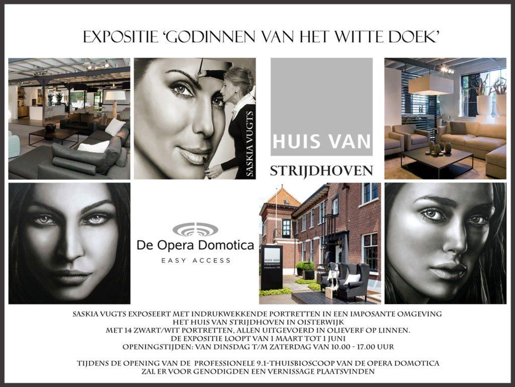 Flyer expositie 'Godinnen van het witte doek', van Saskia Vugts, in het Huis van Strijdhoven in Oisterwijk.