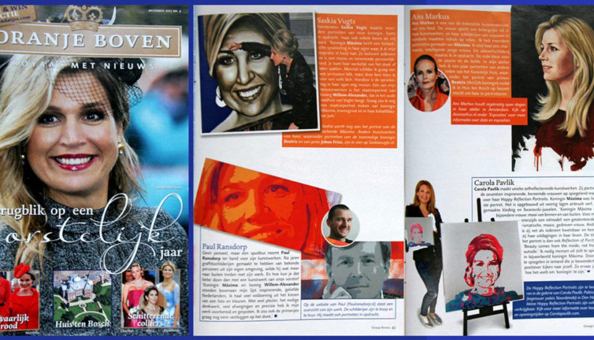 Artikel over portretten van leden van het koninklijk huis in Oranje Boven magazine