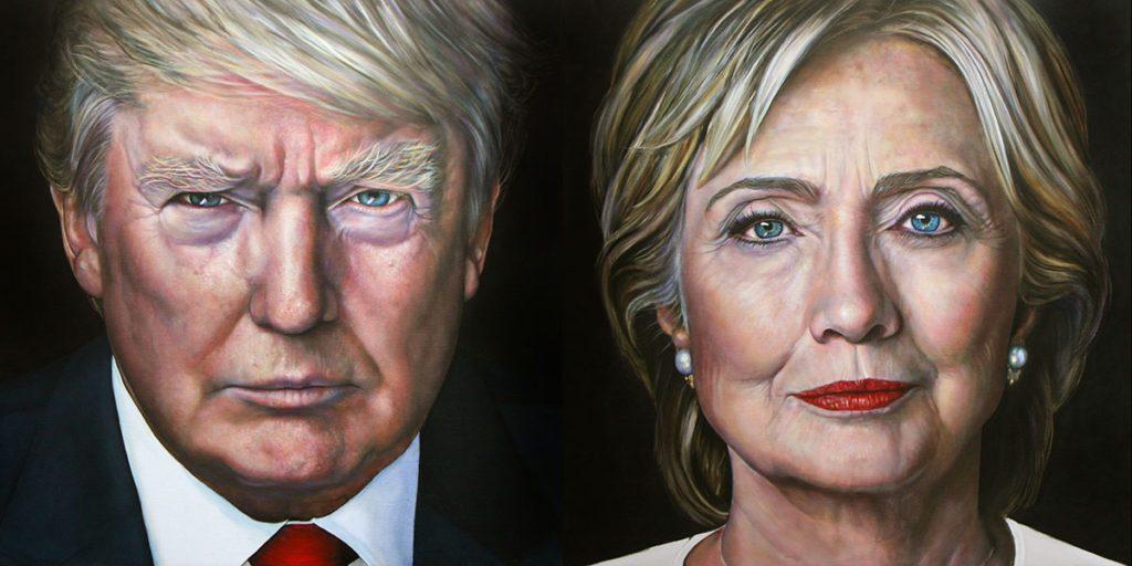 Portretten van Trump en Clinton door Saskia Vugts
