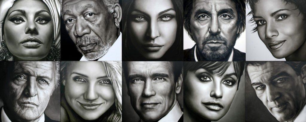 Olieverf portretten van acteurs en actrices die te zien zullen zijn tijdens de expositie Sterren Kijken in Theater aan de Parade