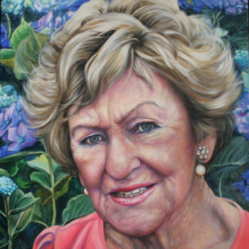 Olieverfportret van Angele Vugts door Saskia Vugts
