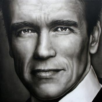 Olieverfportret van Arnold Schwarzenegger door Saskia Vugts