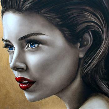 Olieverfportret van Doutzen Kroes door Saskia Vugts