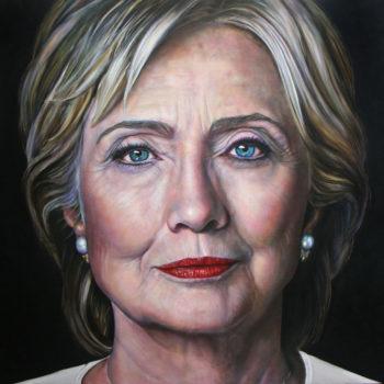 Olieverfportret van Hillary Clinton door Saskia Vugts