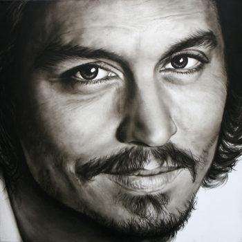 Olieverfportret van Johnny Depp door Saskia Vugts