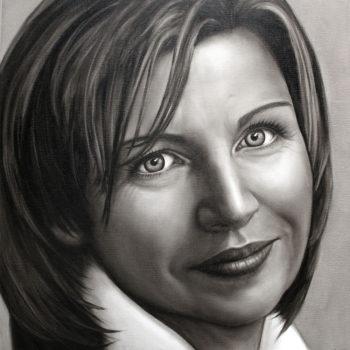 Olieverfportret van Karin door Saskia Vugts