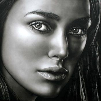 Olieverfportret van Keira Knightley door Saskia Vugts