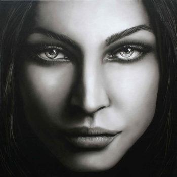 Olieverfportret van Megan Fox door Saskia Vugts