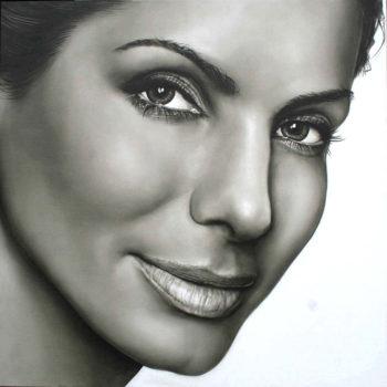 Olieverfportret van Sandra Bullock door Saskia Vugts