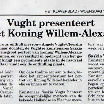 Klaverblad Staatsieportret Koning Willem Alexander(16-4-2014)