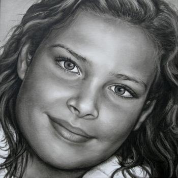 Olieverfportret van Iris door Saskia Vugts