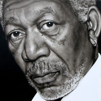Olieverfportret van Morgan Freeman door Saskia Vugts