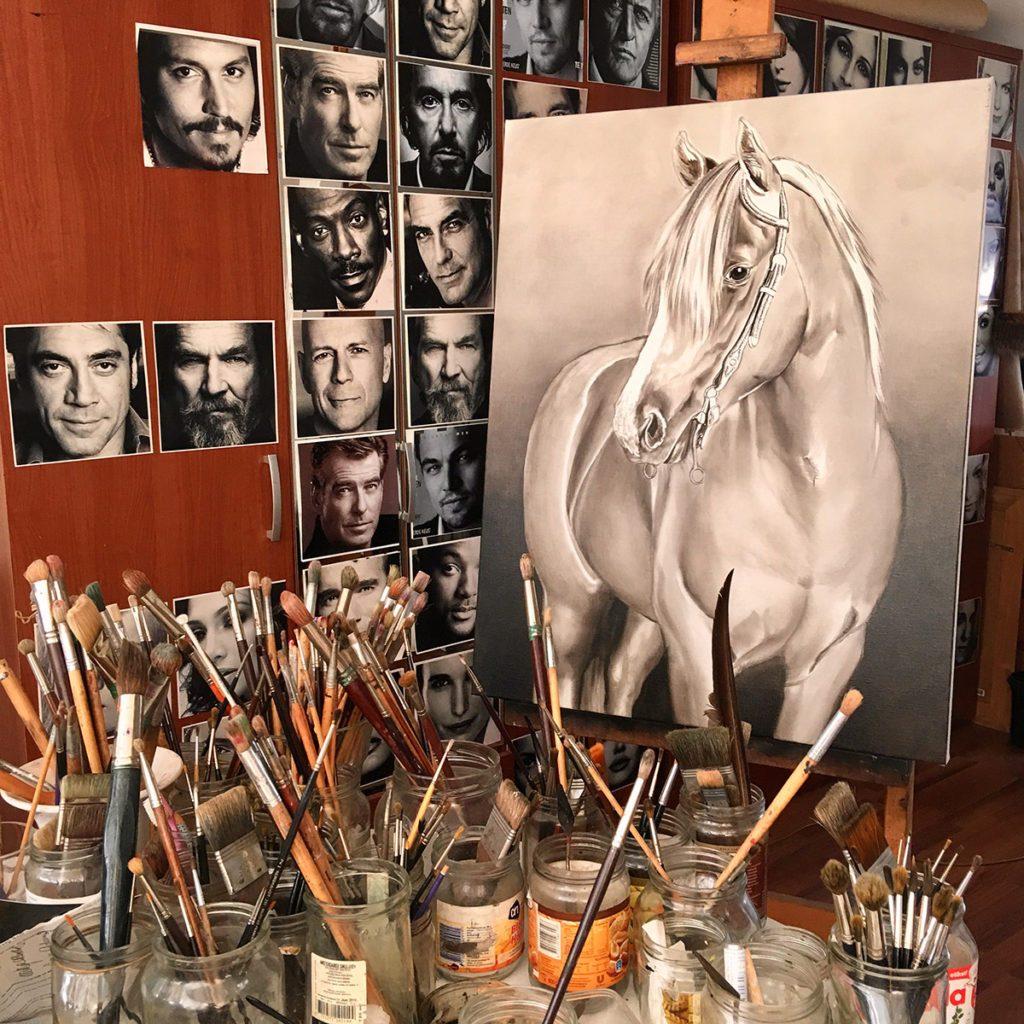 Opzet portret paard door Saskia Vugts