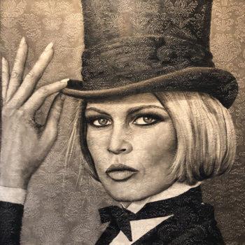 Saskia Vugts Portretschilder Brigitte Bardot Hoge Hoed 115x115cm
