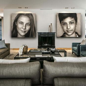 Tweeluik in opdracht geschilderde olieverf kinderportretten