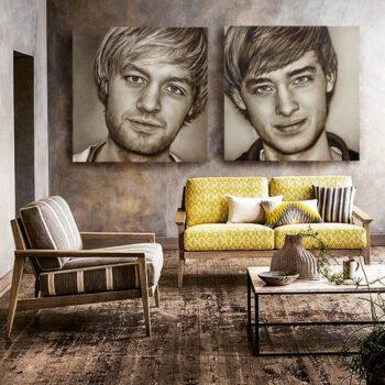 portretten aan de muur tweeluik zakelijk portret in opdracht