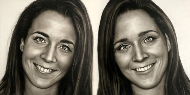 handgeschilderde portretten tweeling tweeluikin olieverf